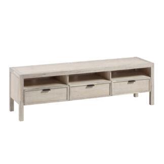 LAFORMA Alen TV- bord m. 3 rum og 3 skuffer - akacietræ m. hvid finish (165x45)