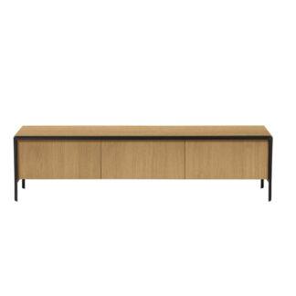 LAFORMA Nadyria TV-bord, m. 3 låger - natur egetræsfiner og sort stål (180x43)