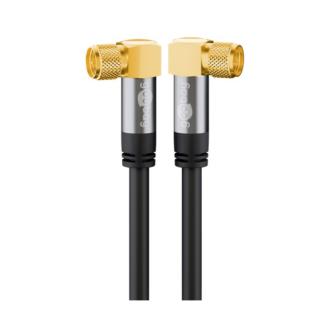 Premium vinklet F-Kabel - 4 x Afskærmning - 135db - Sort - 1 m