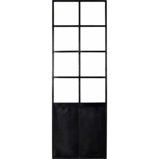TRADEMARK LIVING New Yorker skillevæg - sort jern og glas, m. 8 glasruder, stor (240x80)