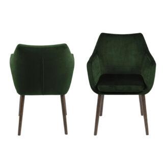ACT NORDIC Nora lænestol - grøn polyester og mørkebrun eg
