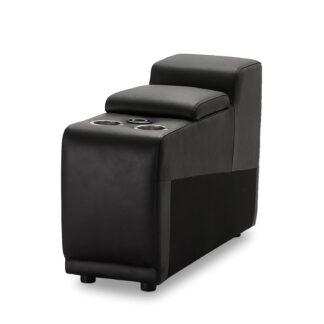 Alexa bar modul, m. kopholder, opbevaring, armlæn og trådløs opladning - sort læder