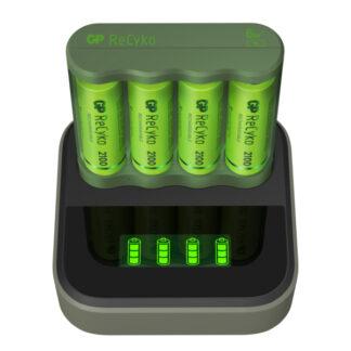 GP ReCyko Everyday-oplader B421 (USB) med ladestation D451, inkl. 4 stk. AA 2100mAh NiMH-batterierZo