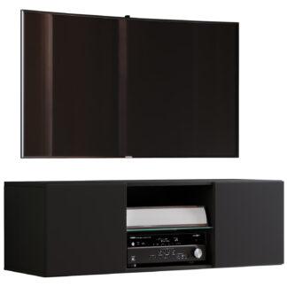 Jusa 115 TV-vægskab, m. 2 låger og 1 hylde - glas og sort træ