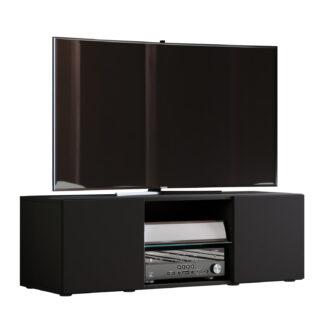 Lowina 115 TV-bord, m. 2 låger og 1 hylde - glas og sort træ