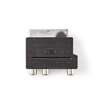 SCART-adapter | SCART Han / 3x RCA Hun + S-VIDEO Hun