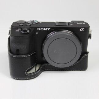 Sony A6600 - Ægte læder beskyttelses cover/hus - Sort