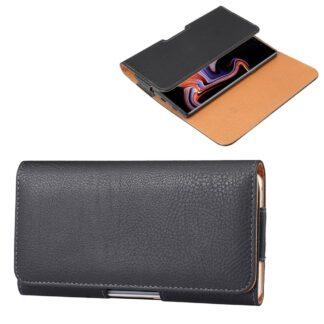 Universal læder bælte Taske / Etui - Str. 170*82mm. - til iPhone / smartphone - Sort