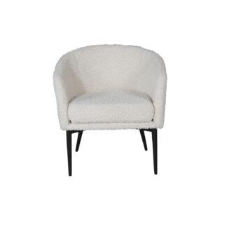 VENTURE DESIGN Fluffy bamsestol - hvid polyester og sort metal