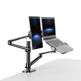 """WERGON - Konrad - Justerbar Dual holder - Til en Laptop 11-17"""" + en Monitor skærm Max 32"""" - Sort"""