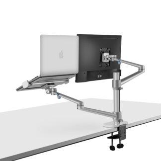 "WERGON - Noah - Justerbar Dual Desktop holder - Monitor skærme Max 27"" / Laptop 11-17"" - Sølv"
