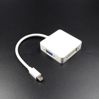 Adapter 3-i-1 design - Mini displayport thunderbolt til DVI+VGA+HDMI adapter - Hvid
