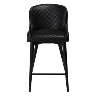 DAN-FORM Vetro barstol, m. ryglæn og fodstøtte - vintage sort kunstlæder og sort egetræ
