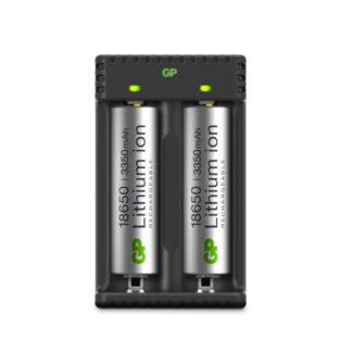 GP Li-ion batterioplader 18650, 2 ladekanaler, L211, inkl. 2 stk. 3350 mAh batterier