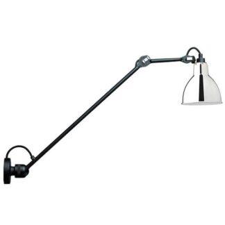 Lampe Gras N304 L60 Væglampe Mat Sort & Krom Hardwired