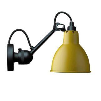 Lampe Gras N304 Væglampe Mat Sort & Mat Gul Hardwired
