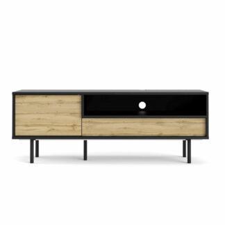 Match TV-bord, m. 1 låge og 1 skuffe - egetræsfarvet/sort folie og stål (137,2x40,1)