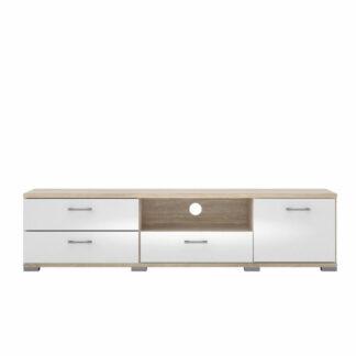 Match TV-bord, m. 1 låge og 3 skuffer - natur og hvid folie (187,2x40,25)
