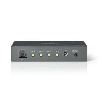 Optisk Toslink Switch - 4 vejs - Med fjernbetjening