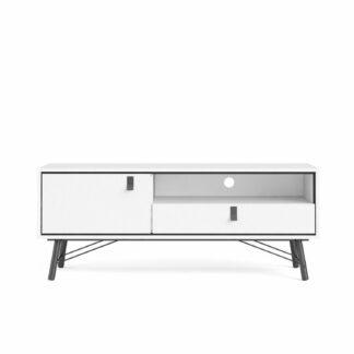 Ry TV-bord, m. 1 låge og 1 skuffe - hvid folie (150,3x40,1)