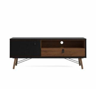 Ry TV-bord, m. 1 låge og 1 skuffe - valnød/sort folie og træ (150,3x40,1)