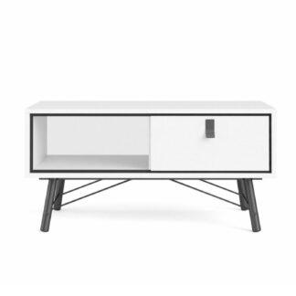 Ry sofabord, m. skuffe - hvid folie og træ (101,8 x 48,2)