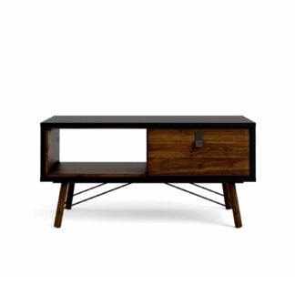 Ry sofabord, m. skuffe - valnød/sort folie og natur træ (101,8 x 48,2)