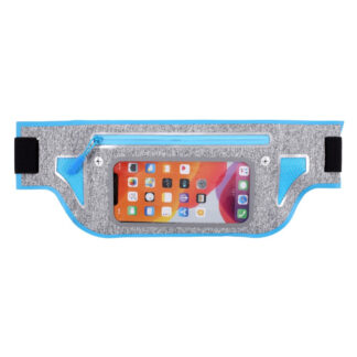 Sports/løbe bæltetaske til iPhone/smartphone op til 165x80 mm - Lyseblå