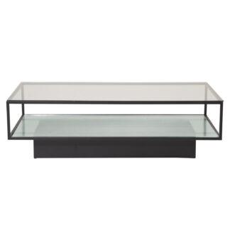 VENTURE DESIGN Maglehem sofabord, m. hylde - klar glas og sort metal (120x60)