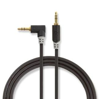Vinklet minijack 3.5 mm kabel - Guldbelagt - 1 m