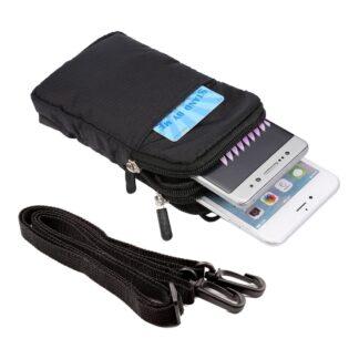 iPhone/Smartphone - Taske/pung med skulderrem str. 16.5x9 cm. - Sort