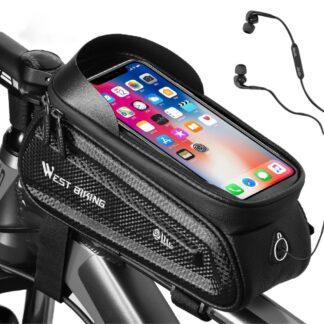 WEST BIKING - Cykeltaske - Vandtæt - Holder til smartphones op til 190*85mm . Sort