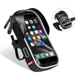 WEST BIKING - Vandtæt cykelholder til iphone/smartphone - op til str. 17*10cm - Sort