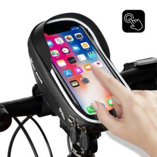 WEST BIKING - cykeltaske med holder til smartphones op til 17x7.5cm - Vandtæt - med Lynlås - Touchskærm - Sort