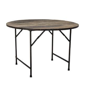 CREATIVE COLLECTION Louis spisebord, rund - brun genbrugstræ og metal (Ø120)
