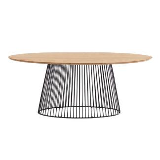 LAFORMA Leska spisebord, ovalt - massivt mangotræ og sort jern (200x110)