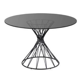 LAFORMA Niut spisebord, rundt - mørkt glas og sort stål (Ø 120)