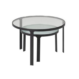 LAFORMA Oni indskudsborde, rund - sort stål og klar/struktureret glas (sæt m. 2)