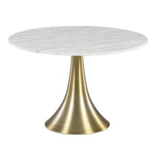 LAFORMA Oria spisebord, rund - hvidt marmor og guld stål (Ø 120)