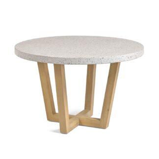 LAFORMA Shanelle spisebord, rund - hvidt terrazzo og massivt akacietræ (Ø 120)