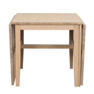 ROWICO Brockton spisebord, m. 2 tillægsplader - hvidpigmenteret egefiner og egetræ (100x80/150/220)