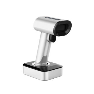 Trådløs Stregkodescanner MJ1930 - 2D - Bluetooth / 2.4Ghz / USB - LED Display & opladningsholder - Sølv