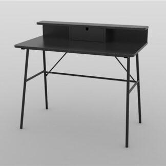 ACT NORDIC Pascal skrivebord, m. 1 skuffe - sort MDF og metal (100x55)