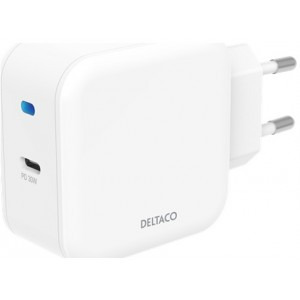 Deltaco Wall Charger Usb-c Pd 30w, White - Oplader
