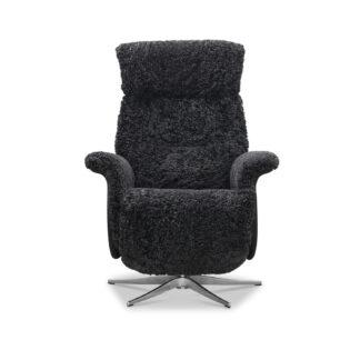HAGA Lissabon recliner lænestol, m. 2 motorer - mørkegrå fåreskind og metal