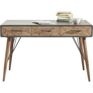 KARE DESIGN X Factory skrivebord - gråt træ og natur fyrretræ, m. 3 skuffer