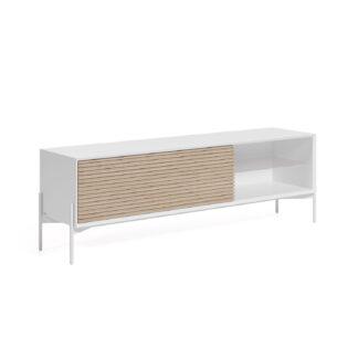 LAFORMA Marielle TV-bord, m. 1 glashylde og 1 låge - natur asketræ og hvid melamin/jern (167x40)