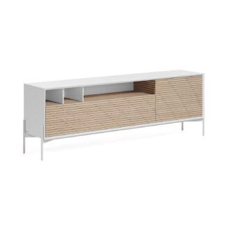 LAFORMA Marielle TV-bord, m. 2 låger - natur asketræ og hvid melamin/jern (187x40)