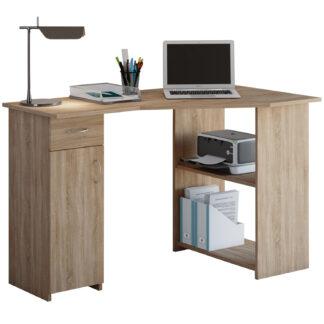 Linzia hjørneskrivebord, m. 1 låge, 2 hylder og 1 skuffe - natur træ