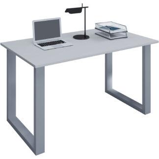 Lona U-feet skrivebord - grå træ og sølvgrå metal (80x50)